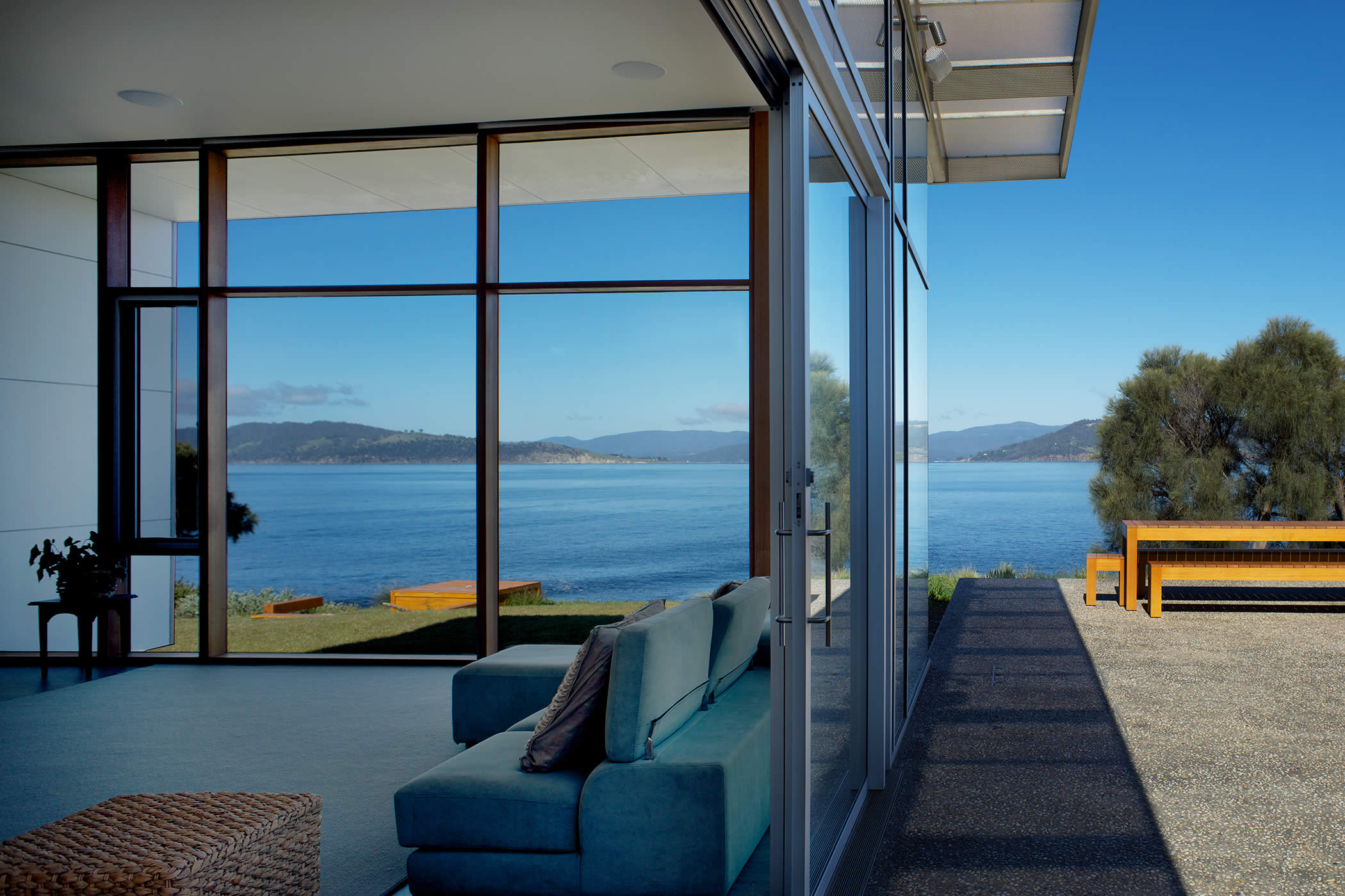 Johns Point residence, South Arm, Tasmania: The design incorporates breathtaking views, an easy indoor-outdoor relationship, flexible use, universal access, passive solar thermal comfort and sustainable energy efficiencies. Photo by Ray Joyce.