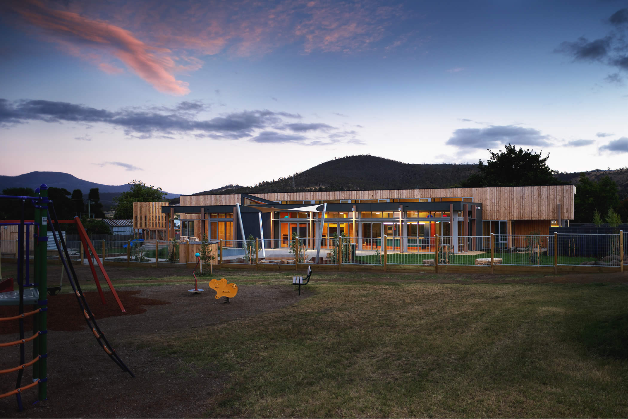 Ptunarra Child and Family Centre, New Norfolk, Tasmania: Passive solar design opens to and brings warm northern light in with passive surveillance, improved safety and use of the adjacent park forging social renewal in the area. Photo by Ray Joyce.