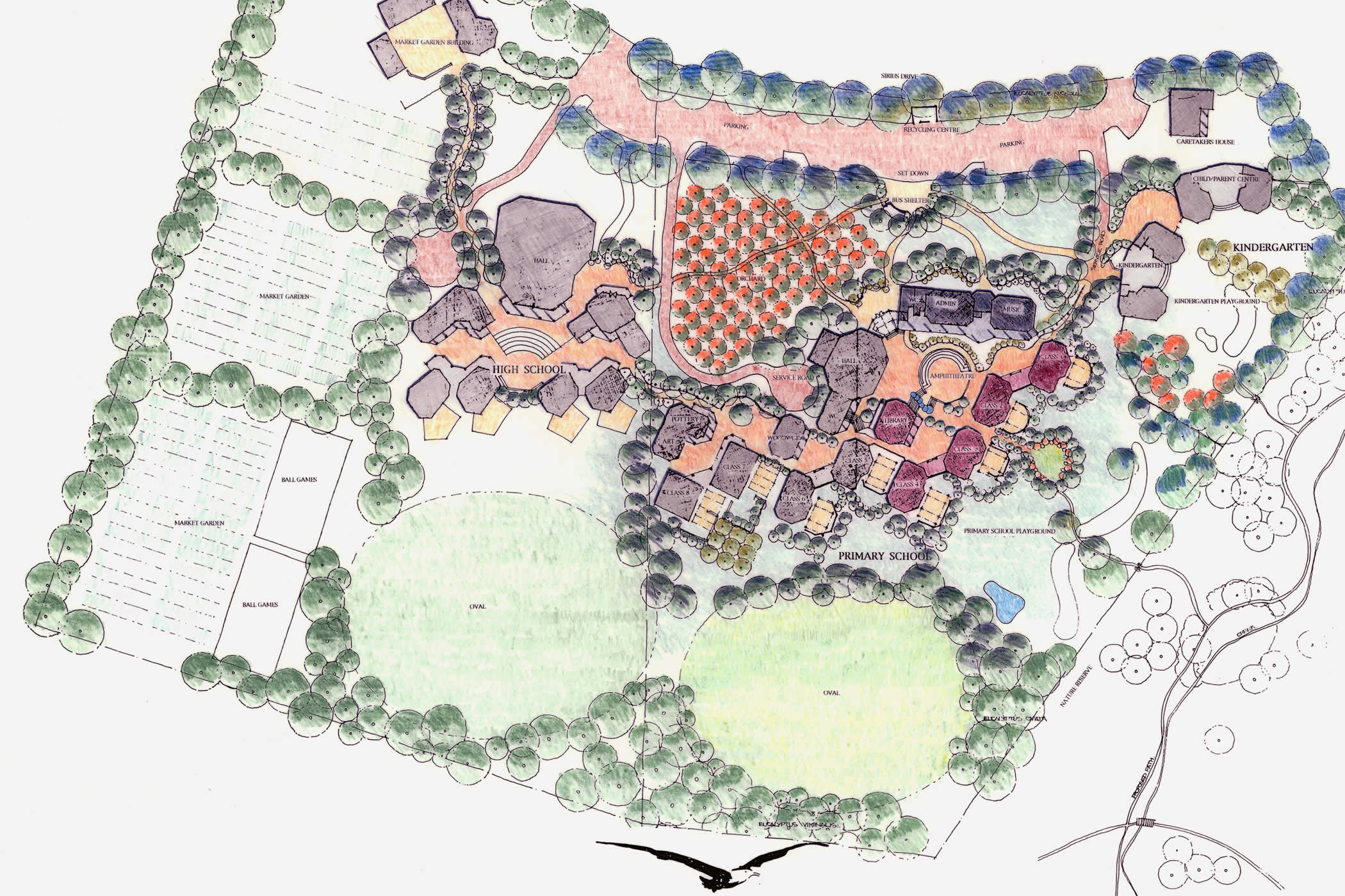 Tarremah Steiner School, Huntingfield, Tasmania master plan: Phased growth included an Early Childhood Centre, Primary, Middle and High School learning areas, a library, music room and multi-purpose Hall, and year 10 art and science learning areas.