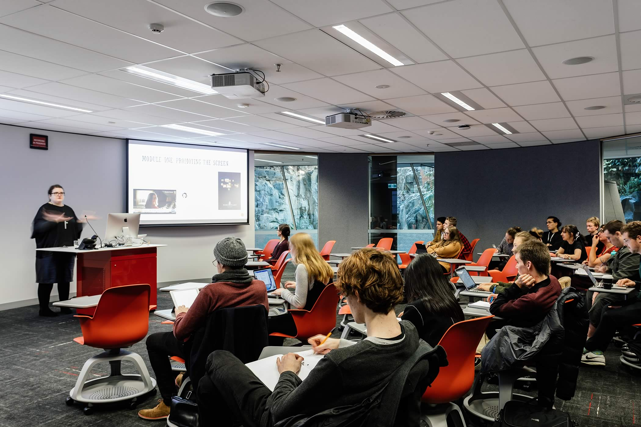 The Media School – University of Tasmania: Elliptical learning spaces support 21st century pedagogy with easily re-configured loose furniture layouts to suit small group collaborative work or a traditional lecture format. Photo by Adam Gibson.
