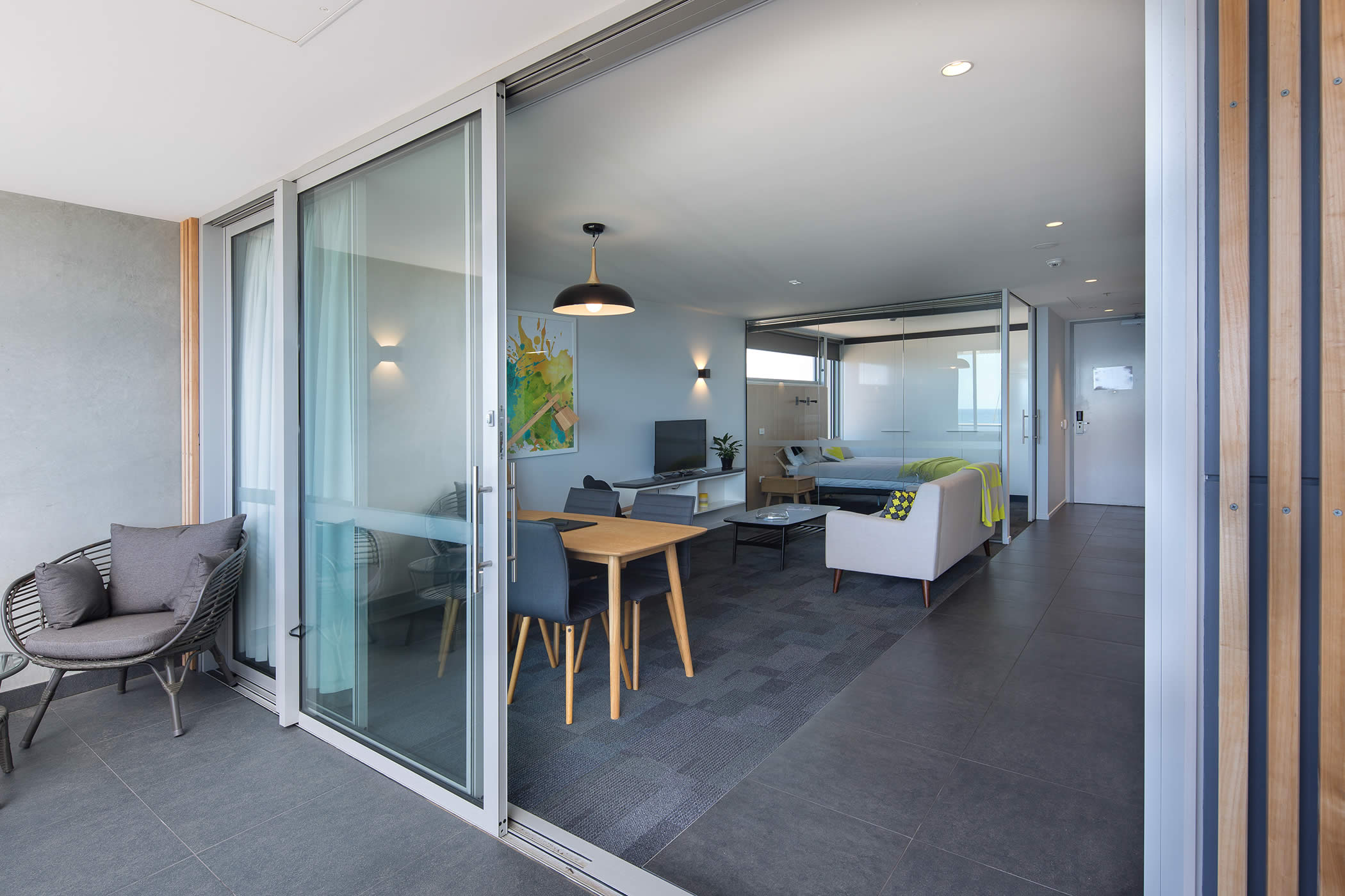 Perfect UTAS West Park Lecturer Apartments, Tasmania: The Contemporary Interior  With Glazed Bedroom Partition And